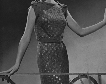 Lace Dress Vintage Knitting Pattern PDF of Minervas Oran, c. 1935