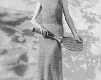"1930s Vintage Crocheted Tennis Dress ""Wimbledon""  Vintage Crochet Pattern PDF, c. 1935"