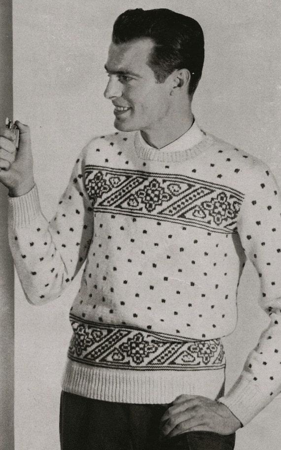PDF of Mens Norwegian Sweater Knitting Pattern Sz 38 40 42