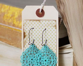 The MARSALI - Aqua Filigree Round Diamond Dangle Earrings - Anthropologie Style- Bridesmaid Gifts, Stocking Stuffers or Family Pictures