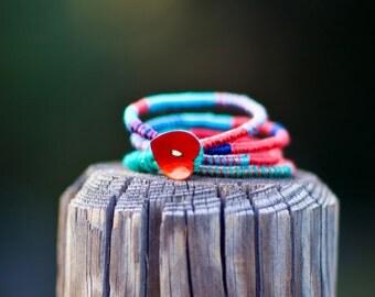Εthnic bracelet, fiber jewelry,  fiber tribal necklace, colorful striped necklace, eco friendly jewelry