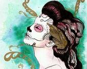 El primer dia - Dia de los Mertos Art Print - - Archival - Teal - Gold - Sugar Skull - Tattoo Art - Catrina