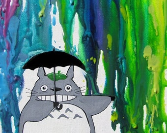 Totoro - In the Rain 2nd Edition Art Print - Rainbow - Neon Colors - Melted Crayon - Umbrella