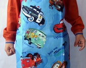 Kids Apron Cars On Blue