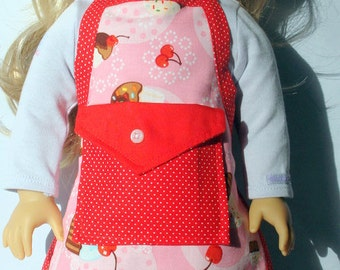 Handmade Apron Made For American Girl Doll - Cupcake Meadley
