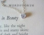 Beauty. Cubic Zirconia Bezel Set Sterling Silver Elegant Wedding Necklace.