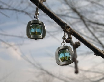 Original Pewter and Baby Blue Czech Glass Earrings