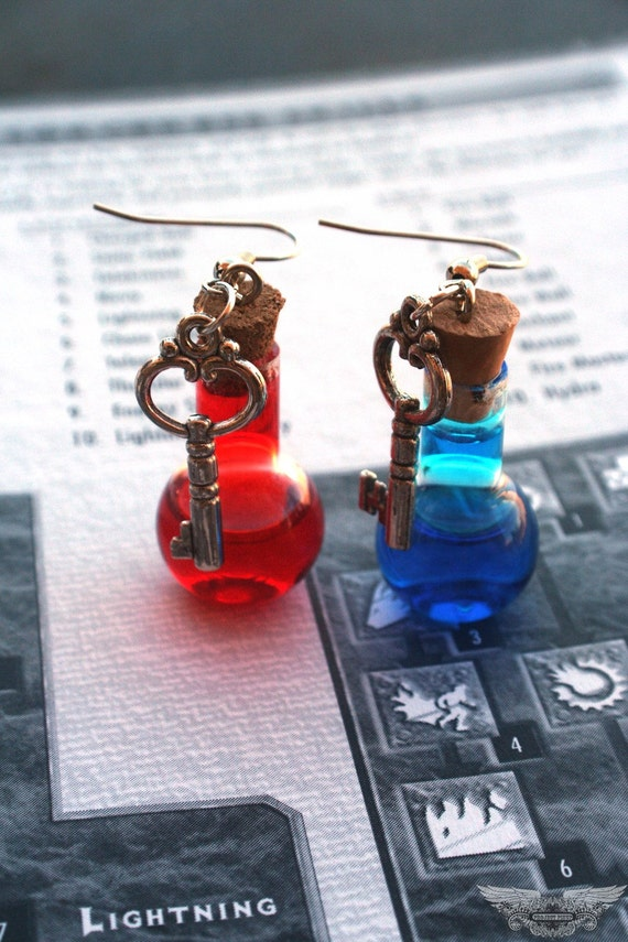 Mana and Health Potion Earrings with Key Charms PC Video Gamer