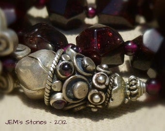 Dark Red Garnet and Sterling Silver Necklace with Hill Tribe and Bali Silver Focal