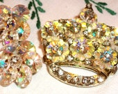 Vintage Crystal & Rhinestone Jewelry SET w/All Glass Rhinestones, FABULOUS Swarovski Crystal AB, Crown Shape, Sale!!, Princess, Queen, Bride