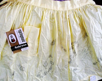 """Vintage APRON 2 Embroider, 1950's NOS w/ Original Tags, """"It's A Party"""" Imprinted Design, GR8 Hostess Gift"""