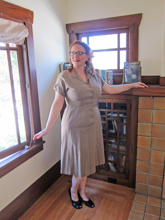 Vintage PLUS SIZE Dress: 1950s Brown Western Style - Bust 41