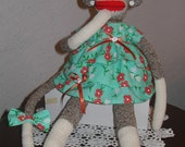 Tillie the SOCK MONKEY in her Party Dress and Hat