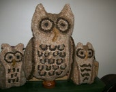 Primitive Wool  Rug Hooking PATTERN Owl Family Make Do and Tucks FAAP OFG