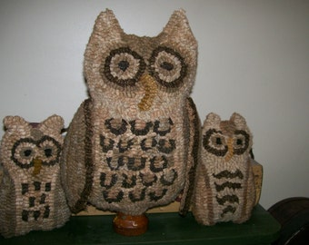 E PATTERN Primitive Wool  Rug Hooking Pattern Owl Family Make Do and Tucks PDF