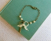 Key, pearl, and lace snippet romantic bracelet, A Cottage by the Sea