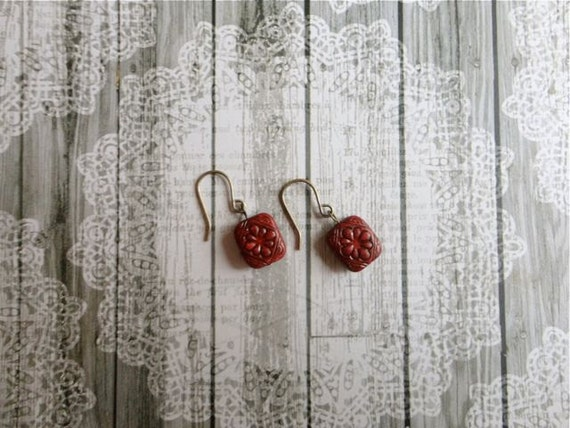 Crimson red & black flower inlay earrings, The Girl With the Ruby Red Lips