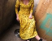 SALE Vintage Canary Yellow Maxi Dress-S-M
