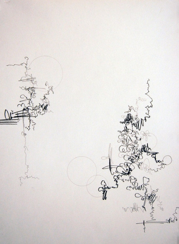 """Two, small, original, abstract drawing, 10"""" x 13"""""""