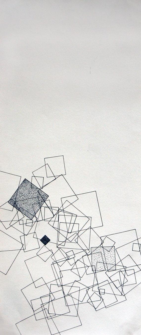"""Falling, small original 6"""" x 14.25"""" abstract drawing"""