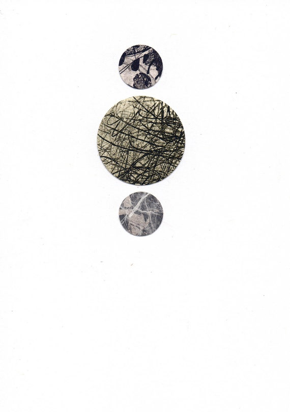 """Dots 7, small 5"""" x 7"""" original collage on paper"""