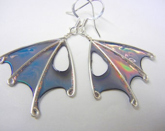 Fairy Wing Earrings, Handmade, ooak, Night Wind