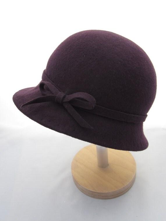 Purple Wool Felt Cloche Hat
