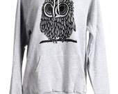 Size large heather grey is ready to ship!!!!!!  Owl on Heather Grey American Apparel Hoodie s, m, l, xl, xxl