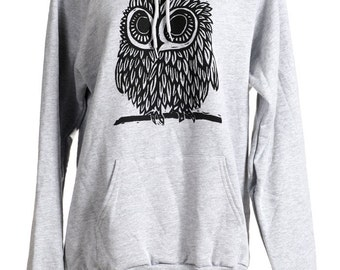 ON SALE Owl on Heather Grey American Apparel Hoodie s, m, l, xl, Ready to ship!!!!!!