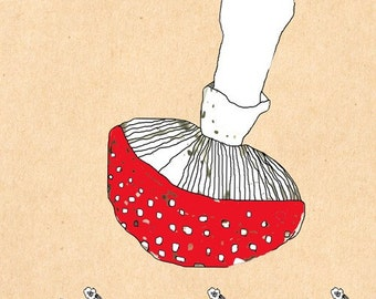 Mushroom. Art print, nursery illustration, kids wall art, limited edition A3 print, 3 for 2 offer. Affordable Art.