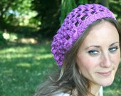 Summer Slouch Hat with Bow - Bright Purple