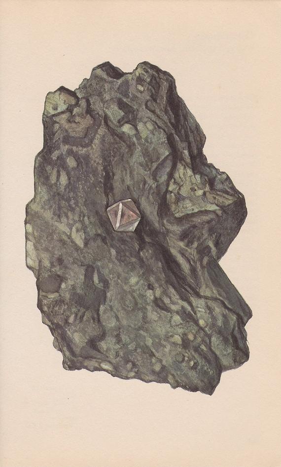Vintage Print Rocks and Minerals, Diamond