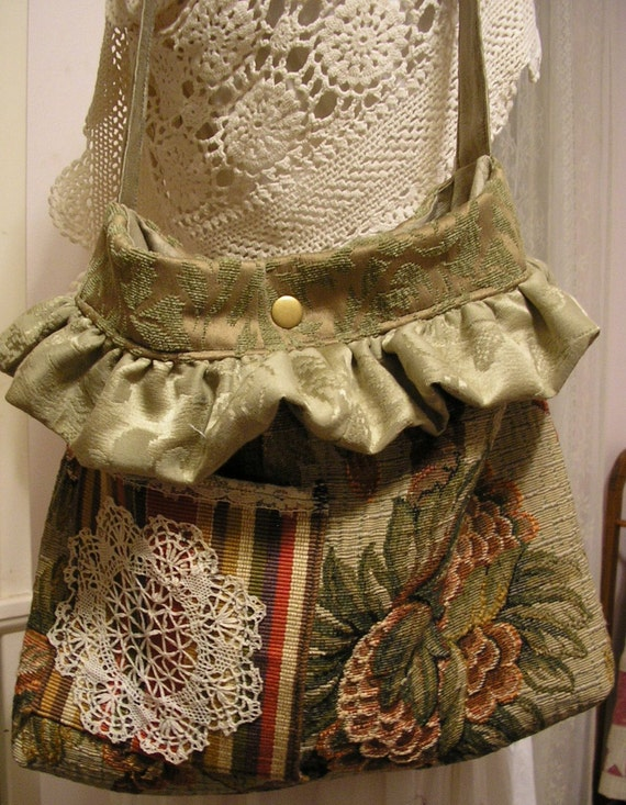 Bohemian Bag, earth tone tapestry fabric bag, handmade ooak, thick soft sage