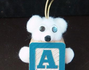 Letter A Teddy Bear Block Ornament Gift Tag for Baby Gift