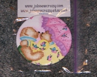 """Lover Bears Pocket Mirror Bears in Love with Umbrella Theme 3 inch 3"""" large size"""