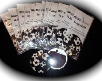 """SOCCER 15 Pocket Mirrors  Black & White Soccer Mirrors 3"""" For Team Gift"""
