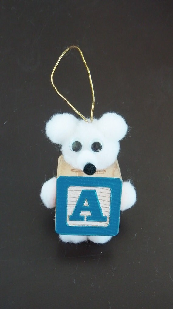 Letter A Teddy Bear Block Ornament For Present Tags Hanging Wooden Block Spelling ABC's