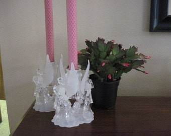 Pink Candles with an Angel candle Holder - Pink Beeswax Candles - Beeswax Candles - Candles with Angel Candle Holder - White Beeswax Candle