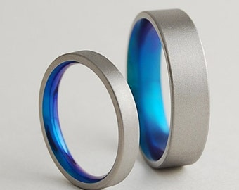 Titanium Rings , Wedding Bands , Promise Rings , Titanium Wedding Ring Set , Wedding Band Set , Aphrodite and Apollo Bands with Comfort Fit