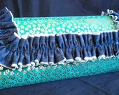 Jade Green Suede Clutch w/ Gold Flowers and Denim Ruffle- IN STOCK Ready to Ship