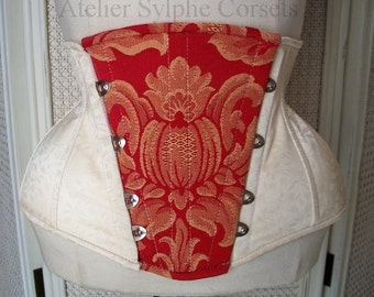Ivory removable front pannel underbust boned corset