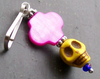 Sugar Skull and Pink Shell Charm
