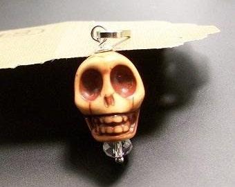 Day of the Dead Sugar Skull Pendant ,Skull Keychain, Skull Zipper Pull ,Skull Charm