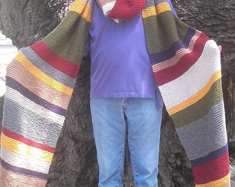 Dr. Who Inspired 12+ Feet Long Hand Knitted Scarf