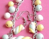 Jewelry Set Marshmallow Rope Charm Bracelet and Earring Set, Candy Jewelry