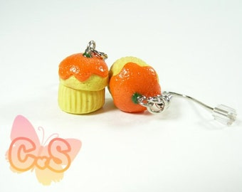 Orange Muffin Earrings, Cake Charm Earrings, Cupcake Jewelry