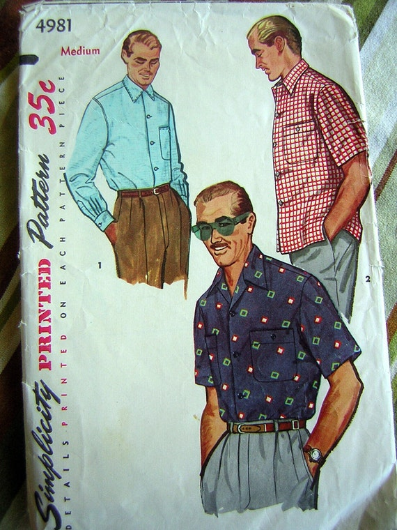 Vintage 1954 Mens Sport Shirt Pattern - Simplicity No. 4981 - Hep Cat Daddy-O - Size Medium CLEARANCE