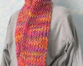 Spring scarf, handknit, pink, peach, yellow, purple, item 2V14