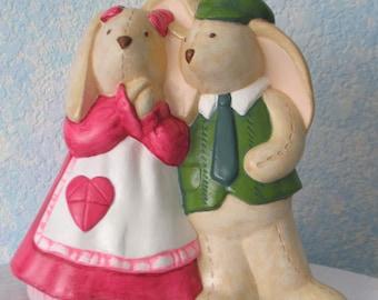 Handpainted Ceramic Mr. & Mrs. Bunny