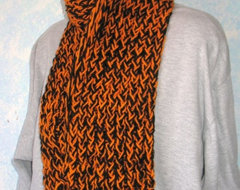 Winter scarf, handknit, black, orange, item BO3